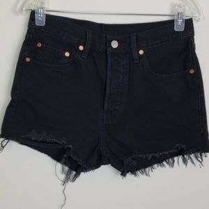 Levi's 501 Size 27 denim short black cutoff